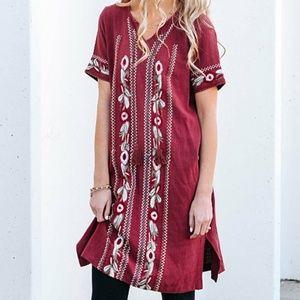 Burgundy Embroidered Linen Shift Dress